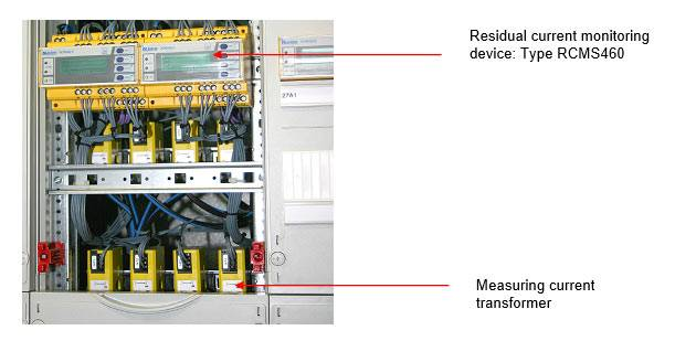 Residual current monitoring system composed of a number of RCMS460 and measuring current transformers in an installation