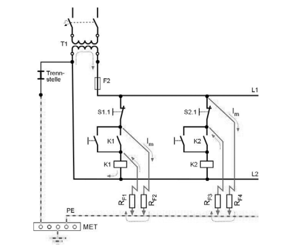 Symmetrical insulation fault in an earthed control circuit